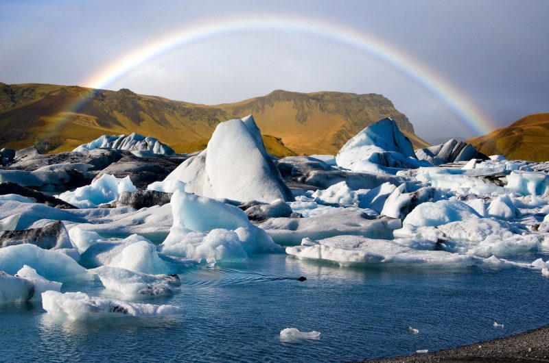 iceland south east jokulsarlon and rainbow istk