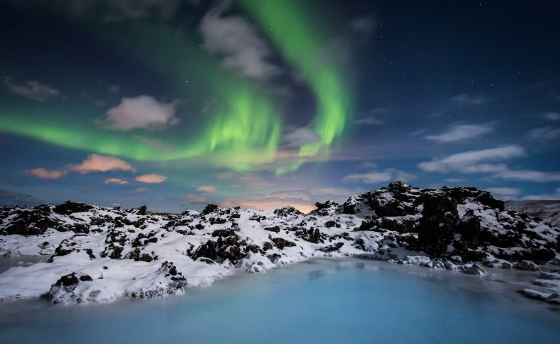 iceland south west blue lagoon with aurora bl gol