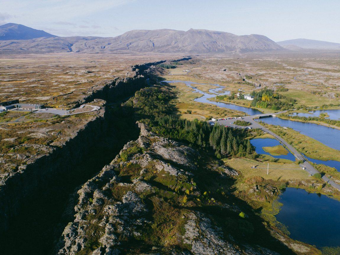 iceland south west thingvellir rift aerial view istk