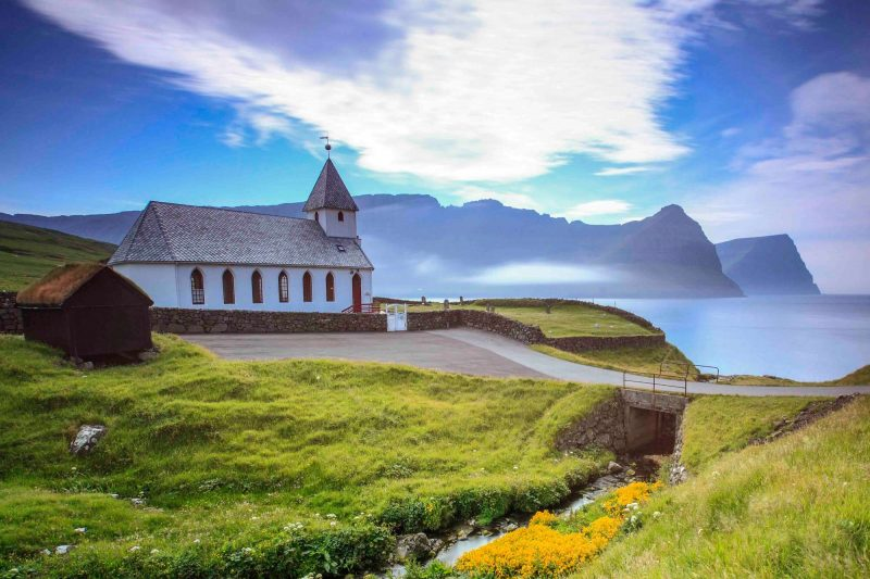 faroe islands bordoy vidareidi church view to muli istk