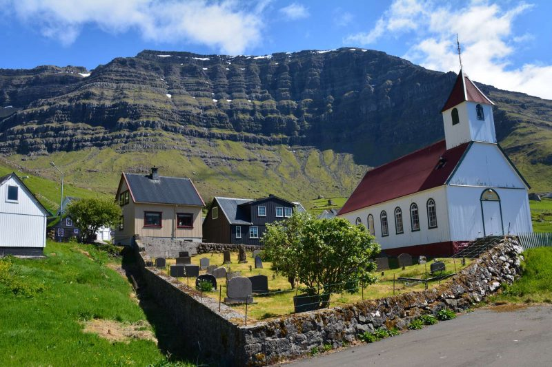 faroe islands kunoy church view adstk