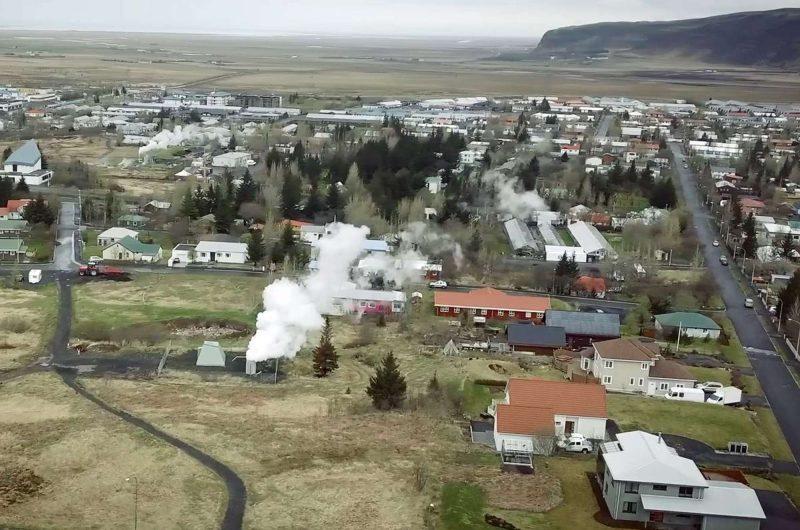 iceland hveragerdi aerial shot