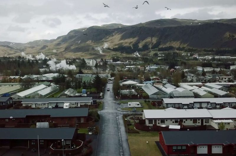 iceland hveragerdi town aerial shot