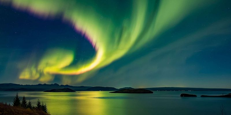 northern lights over thingvellir in south west iceland
