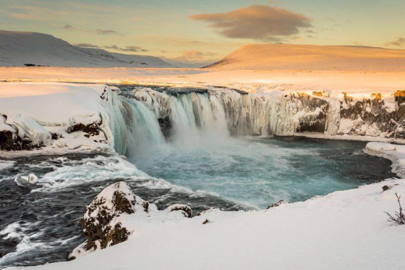 iceland north godafoss winter sunrise 2 istk