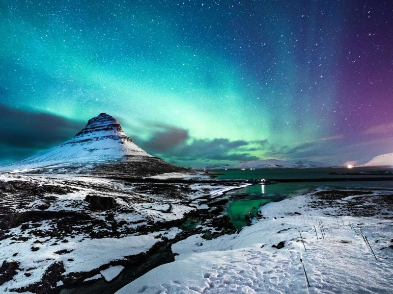 iceland snaefellsnes kirkjufell pink aurora istk