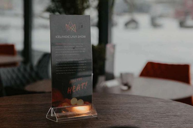 lava show table sign