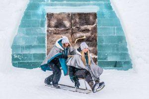 swedish lapland kicksled fun icehotel entrance ak