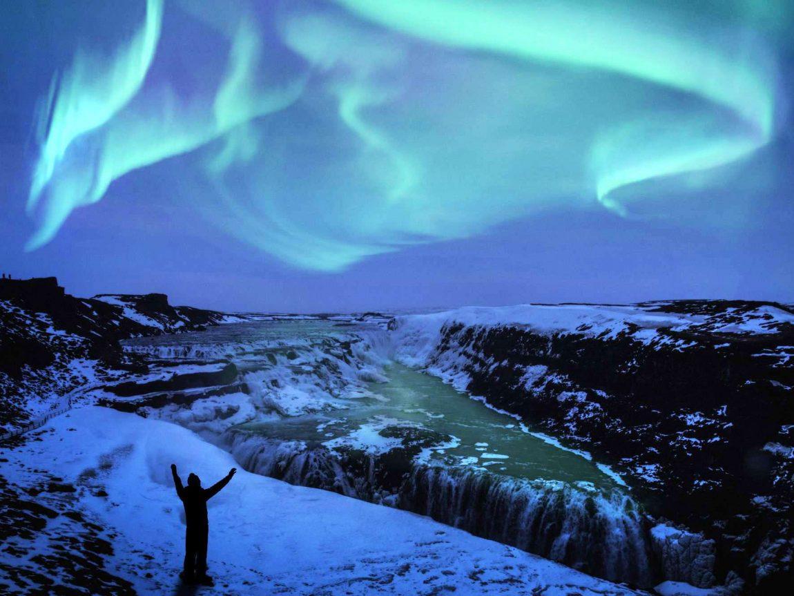 iceland south west gullfoss northern lights over gullfoss waterfall istk