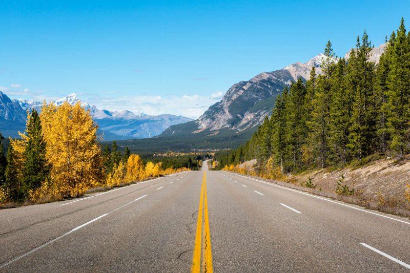canada alberta banff icefields parkway road shot istk