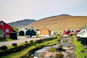 faroe islands eysturoy gjogv village stream istk