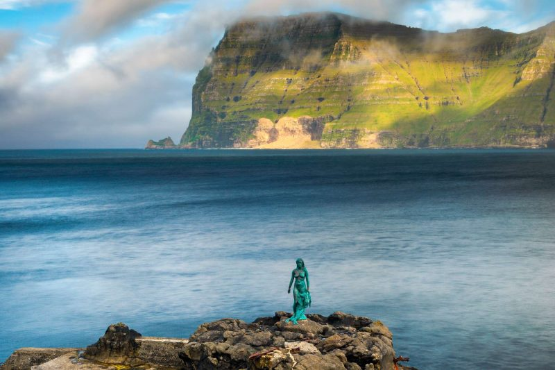 faroe islands kalsoy selkie seal woman mikladalur view adstk