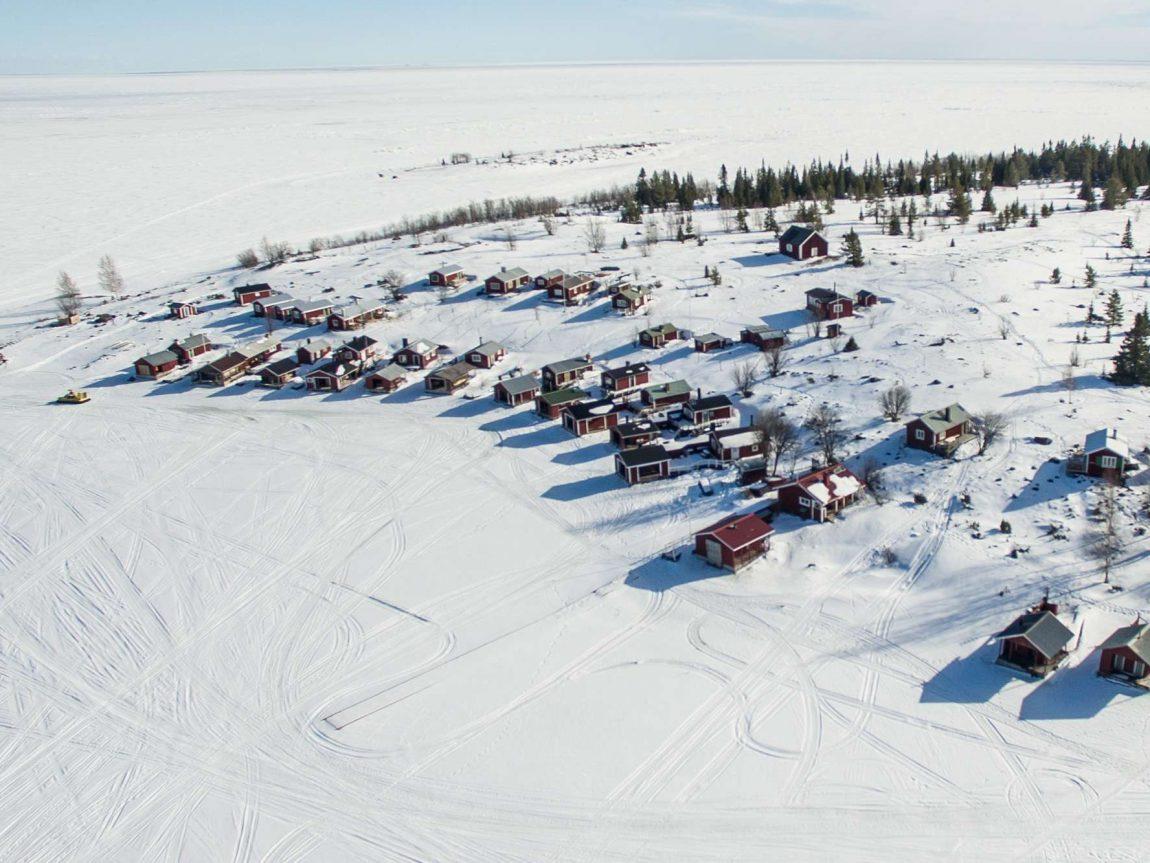 swedish lapland brandon lodge aerial view fb