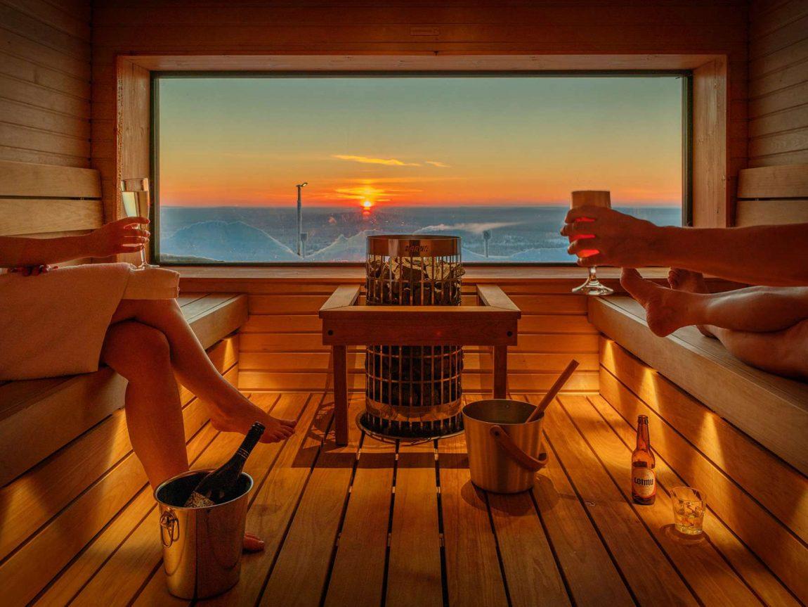finnish lapland star arctic hotel view sauna sunset