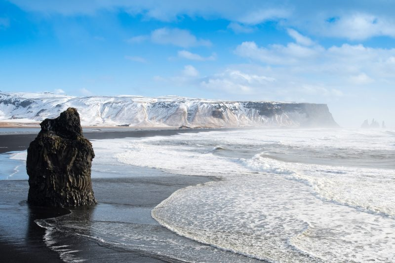 iceland south west reynisfjara black sand beach april istk