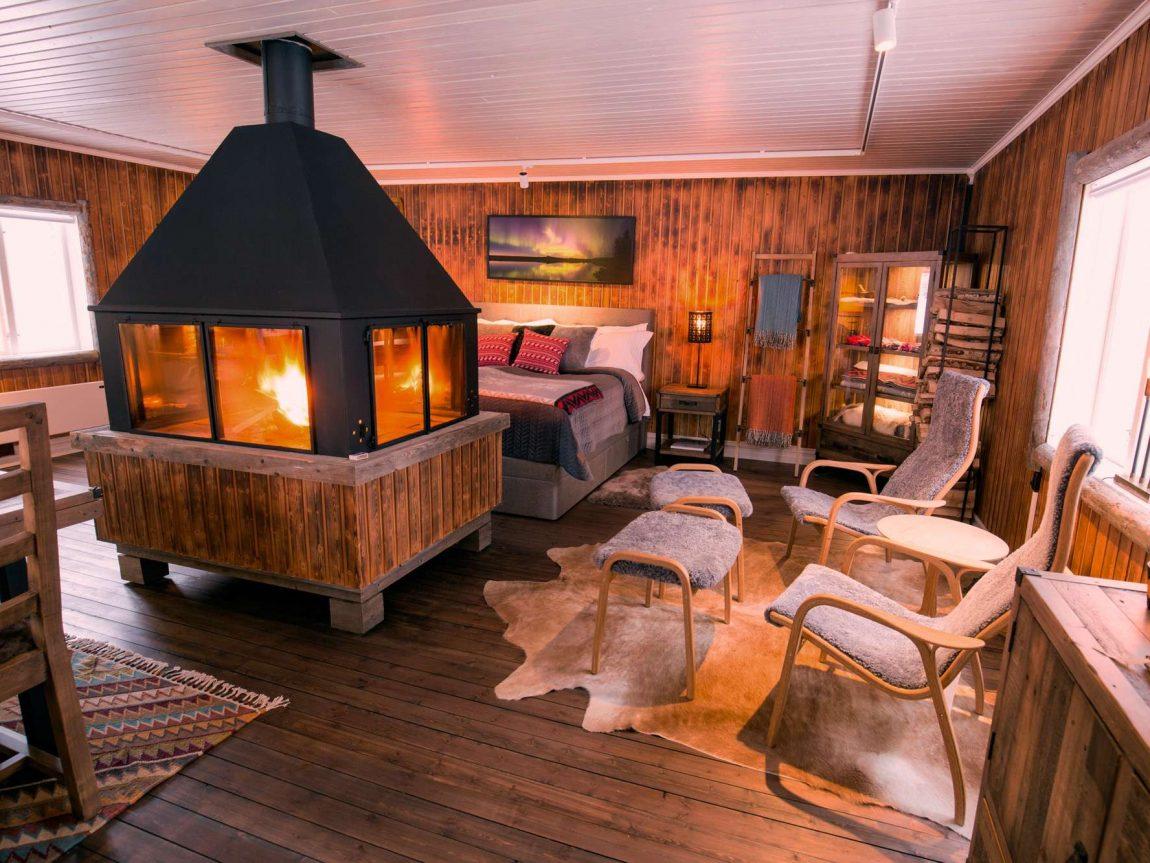 swedish lapland loggers lodge open plan view wg