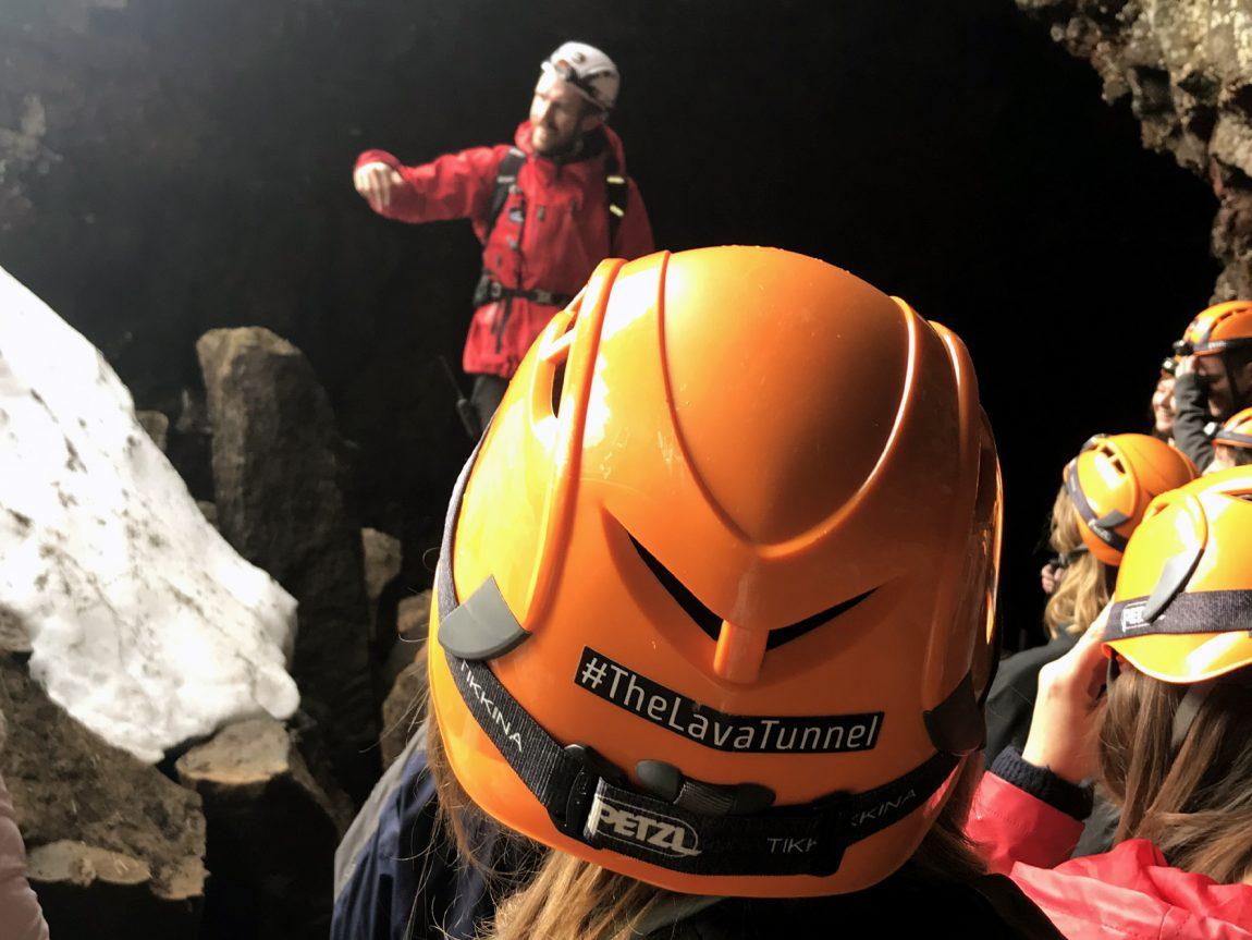 edu iceland team trip lava tunnel helmet