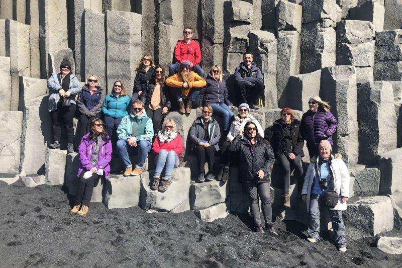 edu iceland team trip reynishfjara group basalt columns