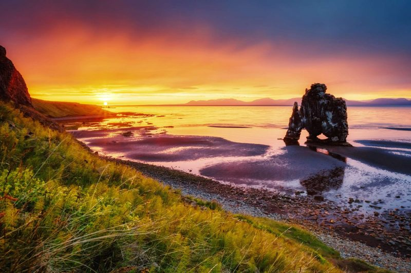 iceland north vatnsnes hvitserkur sunset beach istk