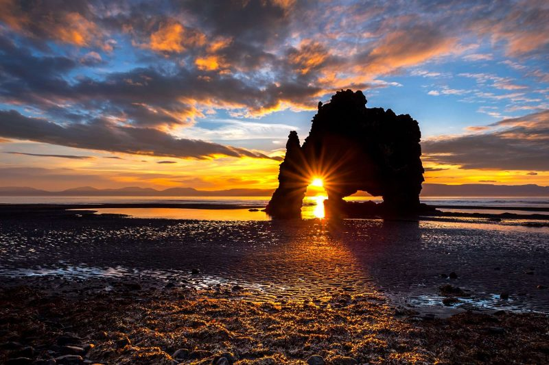iceland north vatnsnes hvitserkur sunset istk