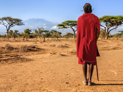 kenya maasai warrior looking at mt kilimanjaro istk