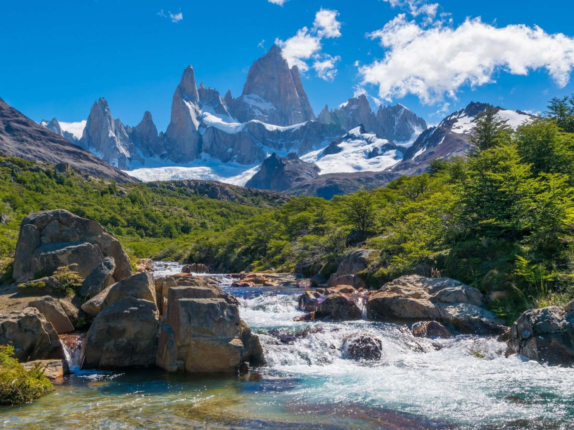 argentina patagonia mt fitz roy and flowing water istk