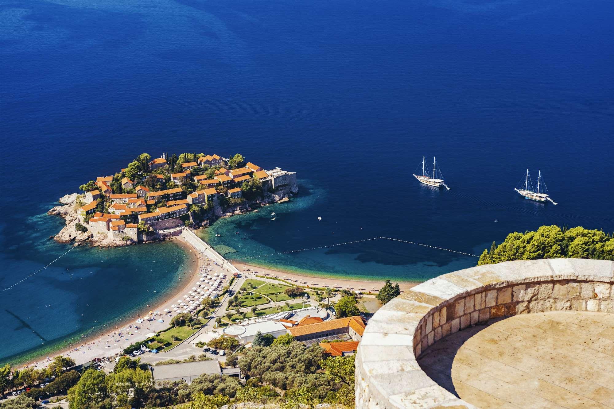 edu montenegro sveti stefan view from above