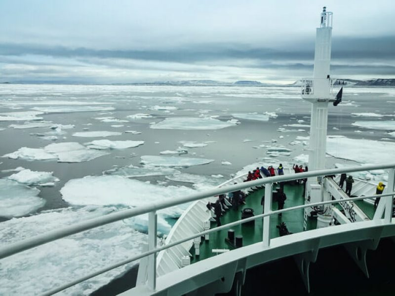 cruising through arctic pack ice view from top deck cp