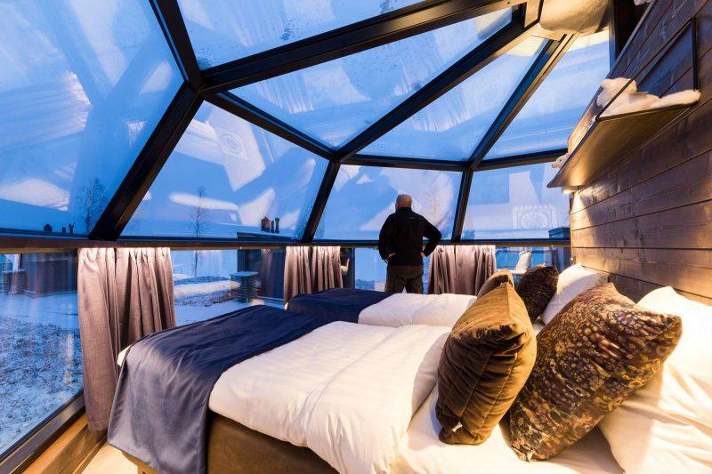 finnish lapland ranua arctic glass igloo interior view