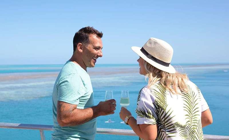 reefsleep enjoying a drink reefworld whitsundays