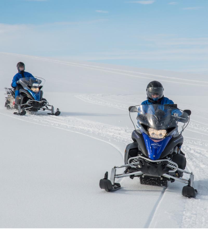Snowmobiling on a glacier