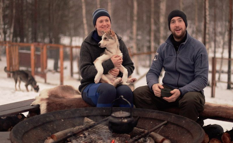 sweden local husky mushers sanne and eric