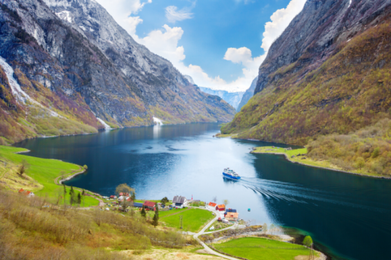 Fjord with cruise boat