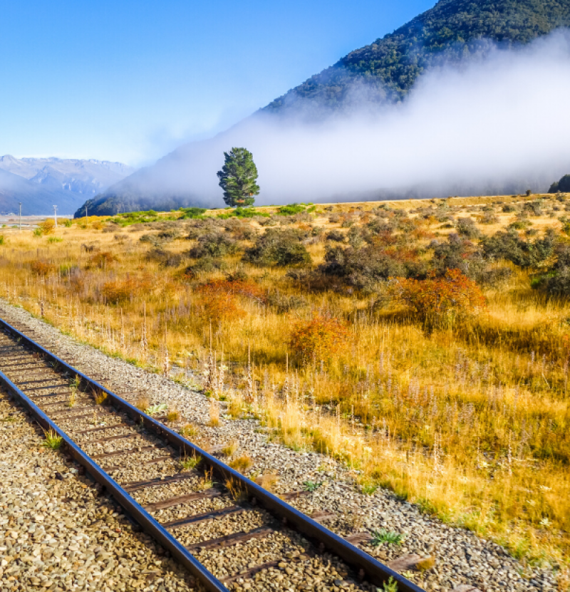 Railway by the mountains