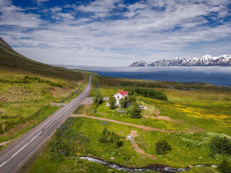 north iceland eyjafjordur aerial view rth