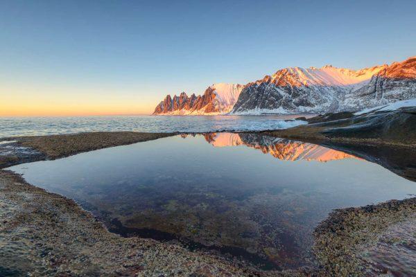 northern norway senja okshornan mountain sunlit istk