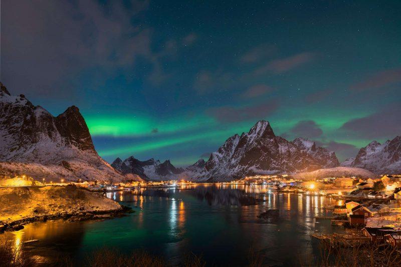 norway northern lights over reine lofoten istk
