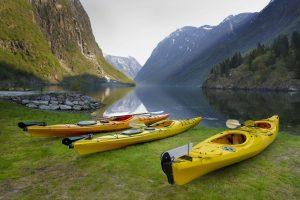 fjord norway kayaks beside sognefjord sstk