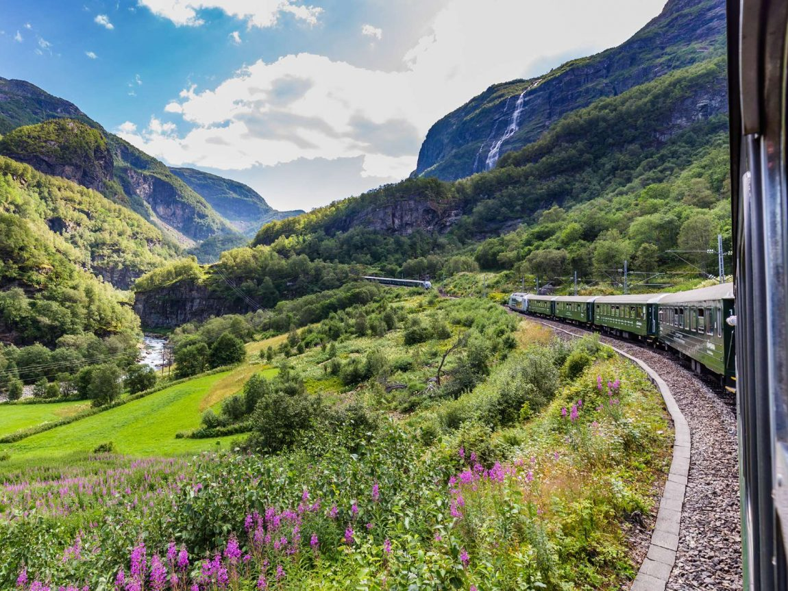 norway view over valley from flamsbana train istk