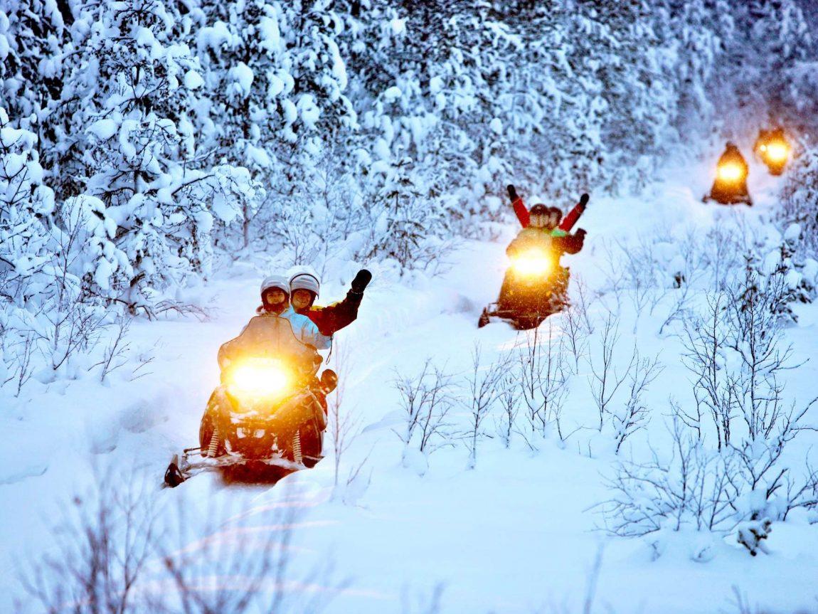 swedish lapland lulea snowmobile forest tour bl