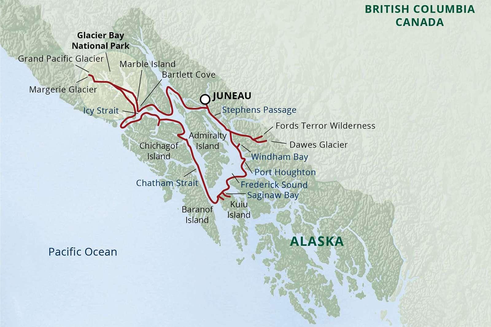 map inside passage glacier bay