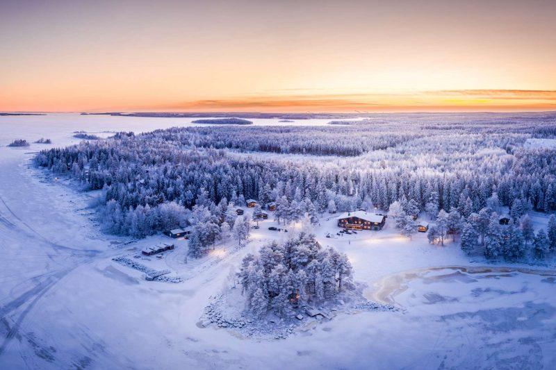 swedish lapland brandon lodge aerial view winter