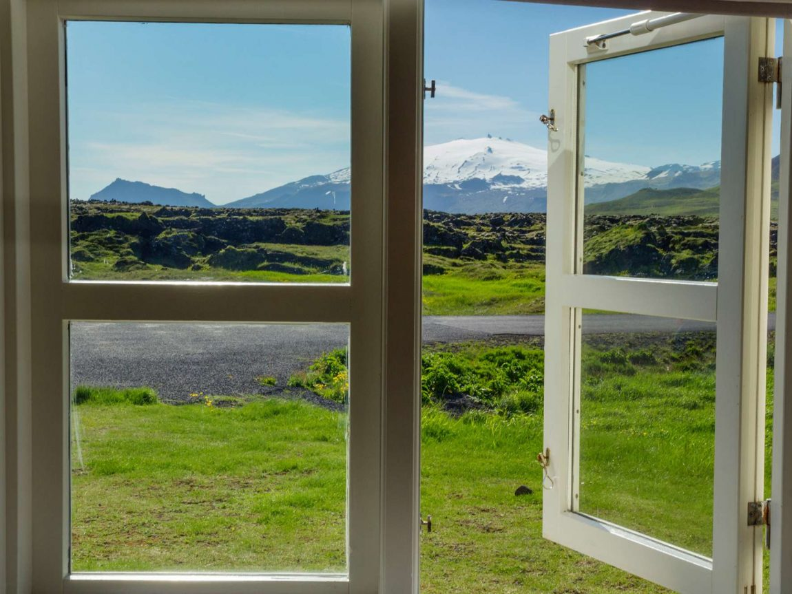 iceland view of snaefellsjokull through window istk