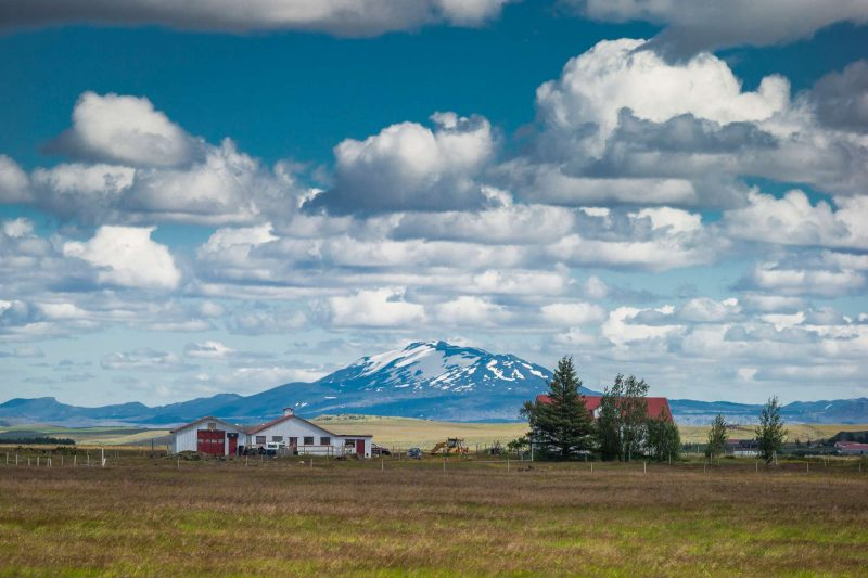 iceland hekla volcano behind farm rth