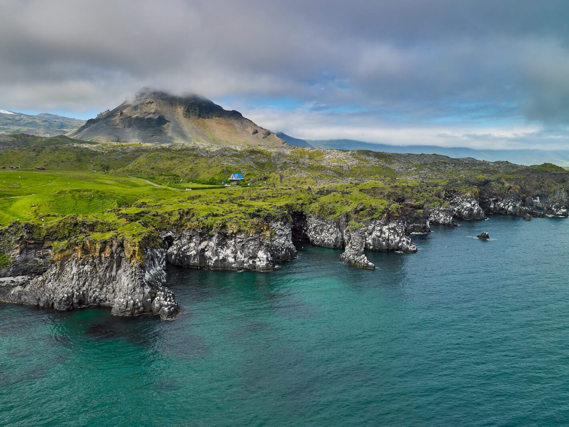 iceland hellnar coastline and cloud over stapafell rth