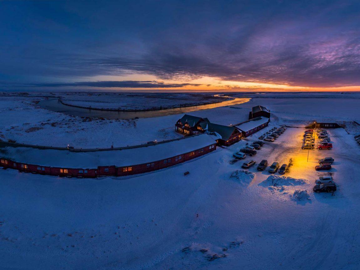 iceland hotel ranga aerial view winter rth