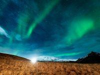 iceland northern lights over snaefellsjokull rth