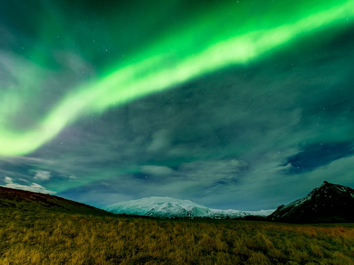iceland snaefellsnes northern lights and snaefellsjokull rth