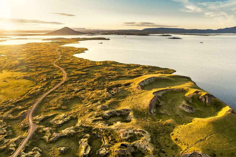 north iceland view over lake myvatn summer rth