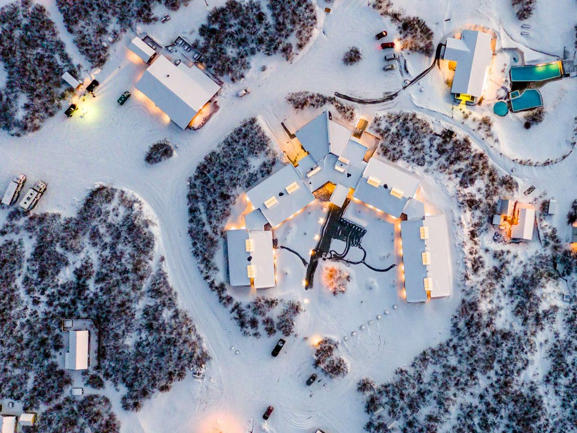 hotel husafell aerial view winter